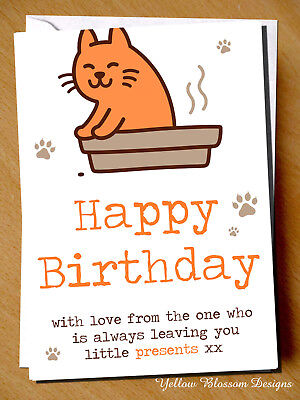 Funny Happy Birthday Card With Love Cat Mum Dad Friend Daughter Sister Wife Rude