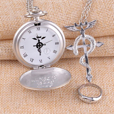 Anime Fullmetal Alchemist Pocket Watch + Necklace + Ring Set Cosplay Prop