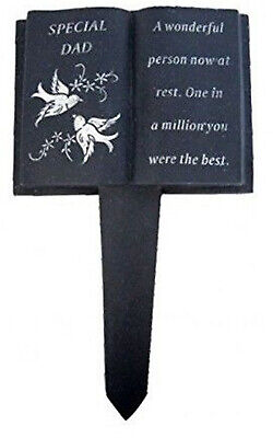 Slate Grey Memorial Book Stake Dove Detail Special Dad Grave Plaque Spike Marker