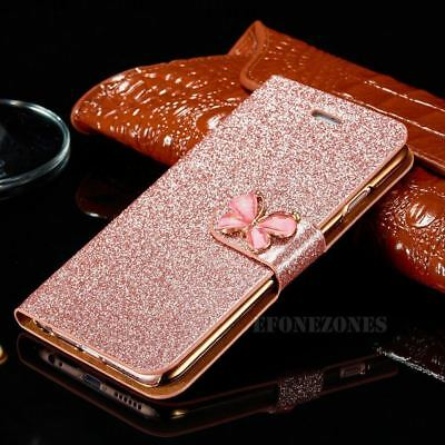 Magnetic Bling Glitter PU Leather Flip Case Wallet Cover For iPhone 6s 7 8 X