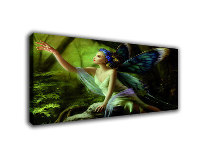Fantasy Art Oil Painting Print On Canvas Home Decor Butterfly Elf Girl In Woods