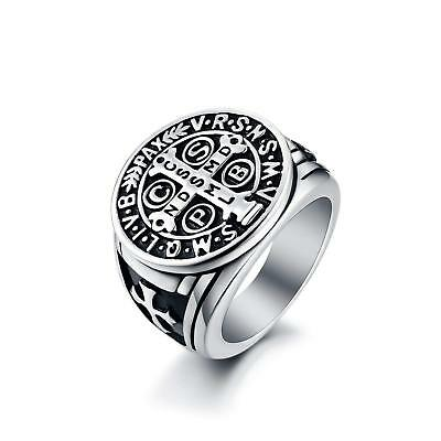 Men's St Benedict Exorcism Ring Stainless Steel Catholic Cross Ghost Hunter 7-14