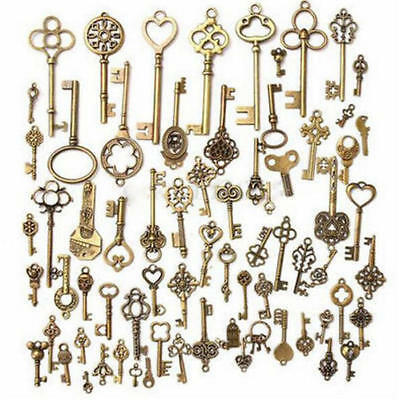 70 Antique Key set Antique Vintage Old Look Bronze Skeleton Keys Fancy Heart UK