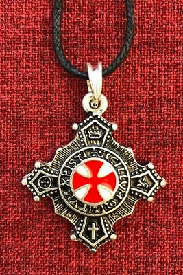 Knights Templar Cross Pendant Knight Medieval Silver Plated Necklace