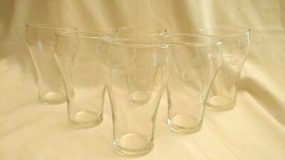 """Coca-Cola 6 Pc.Clear Glass 8oz. Drinking Glasses-w/""""Star MT Stamp"""""""