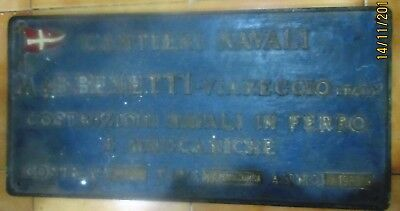 Vintage Ship/Engine Builder Brass ORIGINAL Plaque/Plate M&B BENETTI 1980