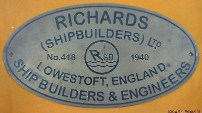 Vintage Ship/Engine Builder Brass Plaque/Plate RICHARDS 1940