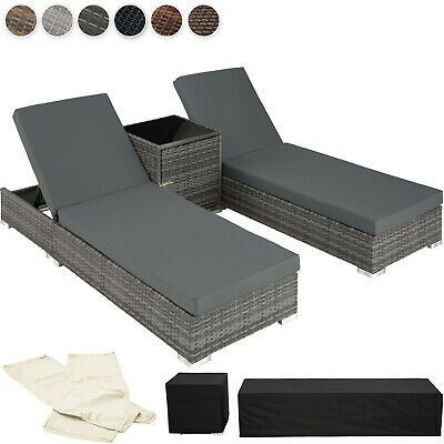 2x Aluminium Rattan day bed + table set sun canopy lounger recliner patio