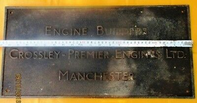 Vintage Engine Builder Brass ORIGINAL Plaque/Plate CROSSLEY PREMIER ENGINES LTD