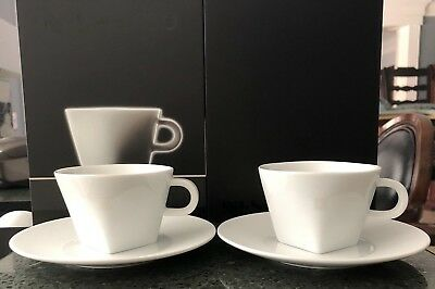 ee431db230cb8 NESPRESSO PURE CAPPUCCINO PORCELAIN COFFEE SET 2 CUPS with SAUCERS NEW