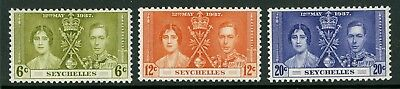 Seychelles  1937  Scott # 122-124  Mint Lightly Hinged Set