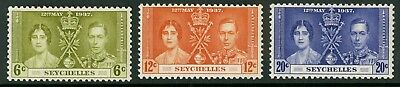 Seychelles  1937  Scott # 122-124  Mint Hinged Set