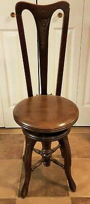 Beautiful Antique Piano High Back Ornate Chair With Adjustable Stool