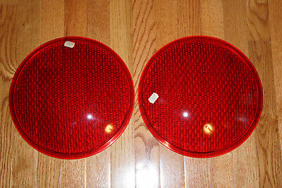 """Traffic Signal Light lenses-RED-glass-12"""", set of 2, DESAG, Made in Germany-New"""
