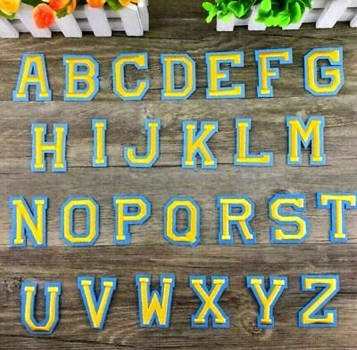 Letter Patch Gold Patches Iron on / Sew on College Alphabet Embroidery Clothes