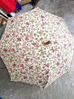 Rare Vintage Laura Ashley Floral Cotton Parasol Wood Handle Made in England