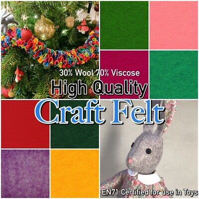 PREMIUM WOOL BLEND FELT 1-2mm Thick Plain Colour 300g Craft Felt Fabric