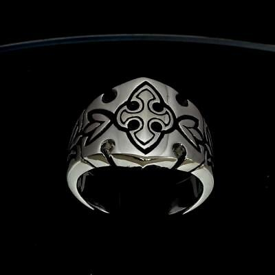 Sterling Silver Medieval Crusader Knight Band Ring Cross Fleur De Lis Any Size