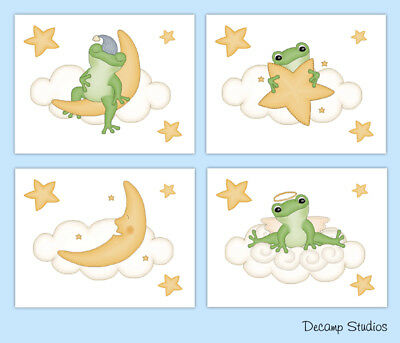 Frog Baby Nursery Prints Cloud Moon Star Wall Art Kids Bathroom Boy Room Decor