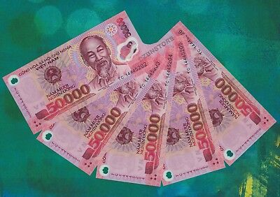 5x 50,000 (50000) Vietnam Dong Banknotes UNC Currency ¼ Million VND  Uncirculated