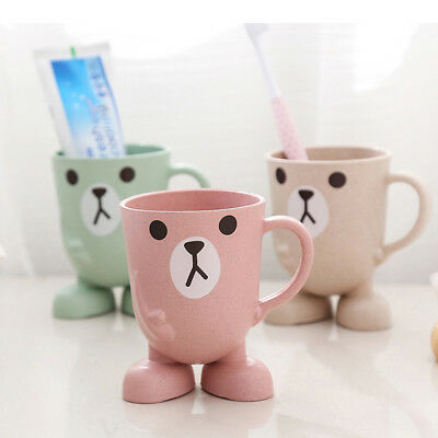 Cute Cartoon Toothbrush Holder Cup Mouthwash Rinsing Mug Drink Cup with Handle