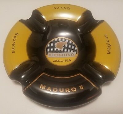 New gift COHIBA MADURO 5 ASHTRAY (BLACK & YELLOW) Limited edition -Very Rare-