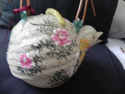 Fine Old Antique Japanese Banko Ware Large Bird Tea Pot