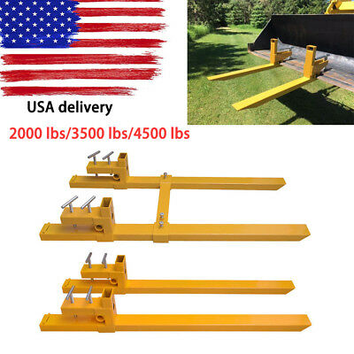 2000lb/3500lb/4500lb Clamp on Pallet Forks Loader Bucket Skidsteer Tractor