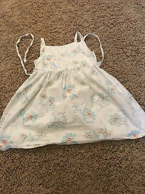 Under The Nile Organic Cotton White Dress, With Blue Blossoms, Sz 18-24 Months