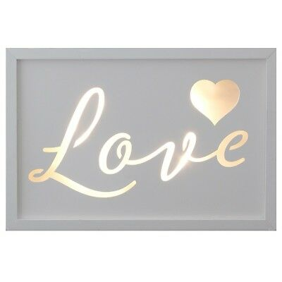 Love Light Up LED White Wooden Box