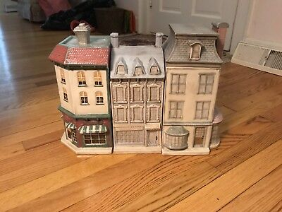 Ceramic Victorian houses kitchen canister set of 3
