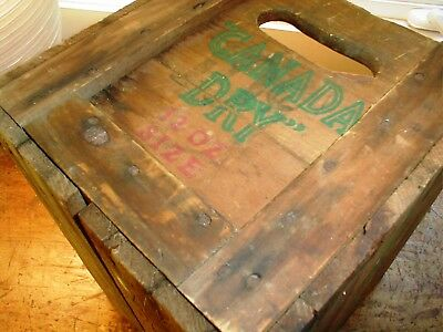 VTG WOOD WOODEN CRATE CANADA DRY rare SMALL SIZE  SODA  BOX ADVERTISE PRIMITIVE