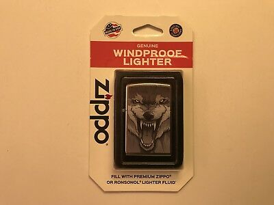Zippo Lighter: 207BP Wolf Face Yellow Eyes New In Box FREE SHIPPING!