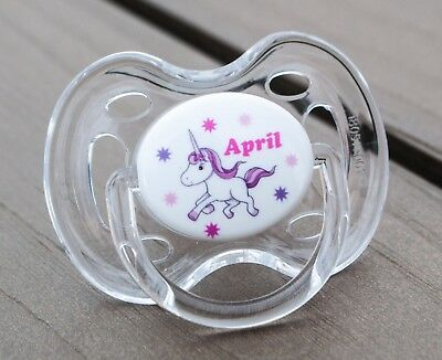Personalised Dummy, Avent Tommee Tippee Mam, All Teats & Sizes, Unicorn