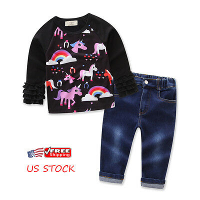 US Kids Baby Girl Unicorn Ruffle Long Sleeve Tops+Jeans Pants Clothes Outfit Set