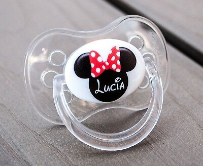 Personalised Dummy, Avent Tommee Tippee Mam, All Teats & Sizes, Mouse Ears Girl