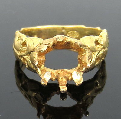 Antique Art Nouveau 18K Yellow Gold Hand Made Floral Semi Mount Ring