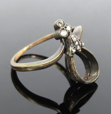 Antique 1800's French 0.10ct Rose Cut Diamond Silver & Gold Semi Mount Ring