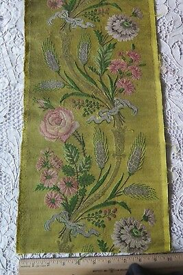 French 18thC Lyon Silk, Silver & Gold Metallic Brocaded Fabric~Roses & Wheat