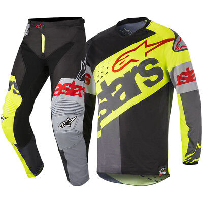 Alpinestars NEW Mx 2018 Racer Flagship Fluro Black Adult Motocross Gear Set
