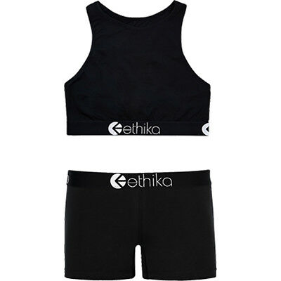 Ethika NEW Mx Midnight Black Womens High-Neck Bra Staple Underwear Combo
