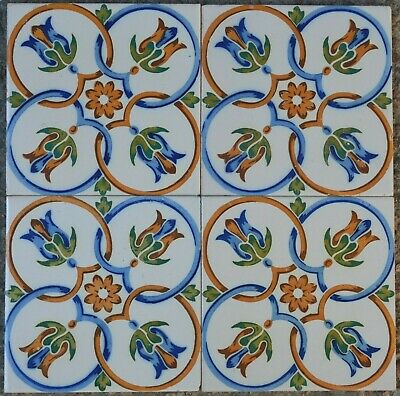 Spanish Antique Valencian- Hand Painted 4 Tiles Set