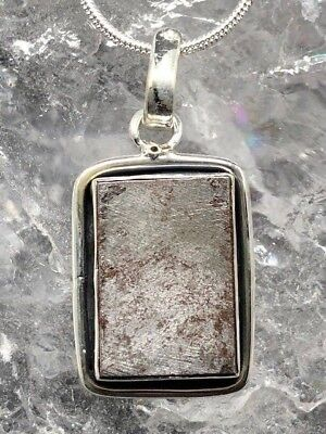 Crystal Nation Gibeon Sterling Silver Meteorite Pendant ~ ( 7.2gm / 30mm )