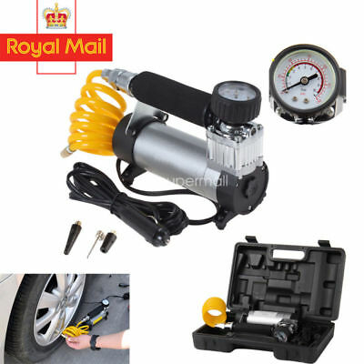 12V Heavy Duty Portable Electric Car Tyre Inflator 100Psi Air Compressor Pump Uk
