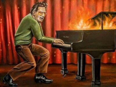Original painting by listed artist. Painting of Jerry Lee Lewis by Erika Jane