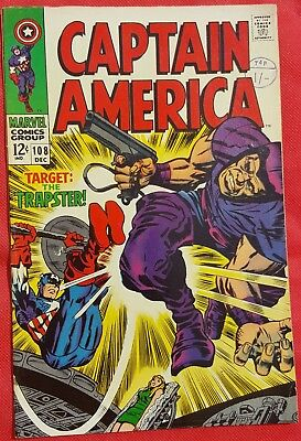 CAPTAIN AMERICA 108 Marvel Silver Age 1968 the Trapster Jack Kirby Art vfn-