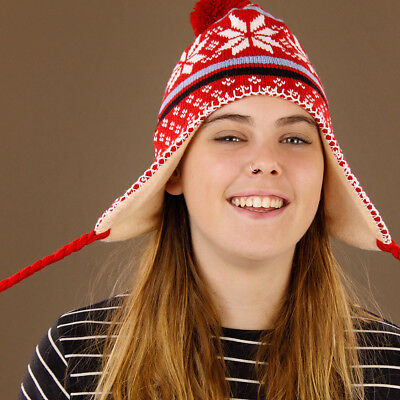 Knitted Red Snowflake Beanie Pom Pom Ear Flaps Adults Teens Women Lined Warm