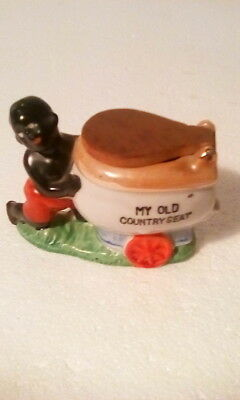 "Vintage Black Americana Porcelain Child with ""My Old Country Seat"" made in Japan"