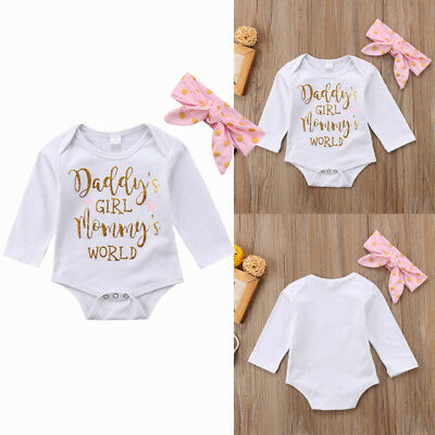 Mommy's World Newborn Baby Girl Pink Romper Jumpsuit Bodysuit Clothes Outfit Set