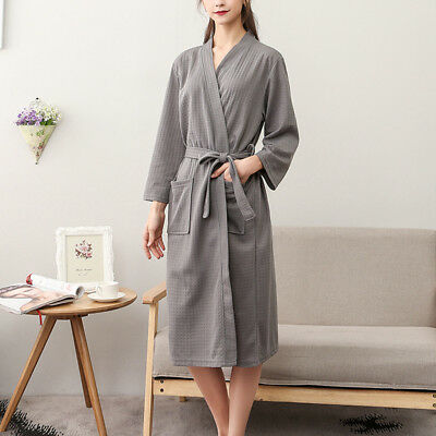 Summer Womens Mens Cotton Suck Sweat Kimono Bathrobe Nightwear Waffle Bath Robe